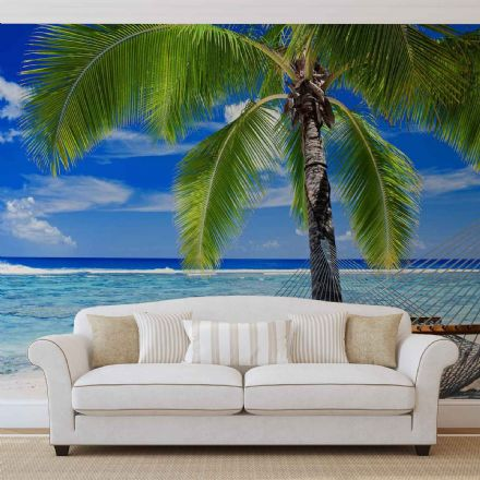 Easy to apply wallpaper murals Beach Sea Sand & Palms
